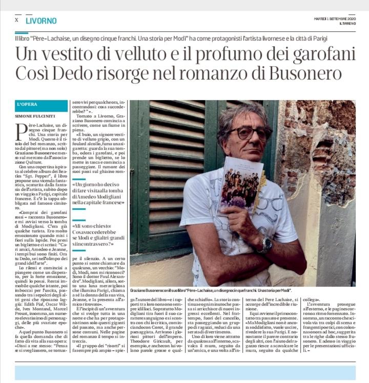 """Graziano Busonero intervistato da Il Tirreno di Livorno sul libro """"Pére-Lachaise, un disegno cinque franchi. Una storia per Modì"""""""