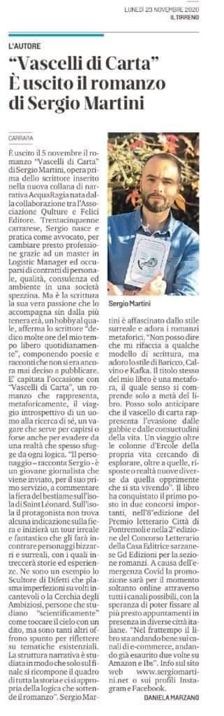 """23 novembre 2020. Sergio Martini intervistato da Il Tirreno sul libro """"Vascelli di Carta"""""""