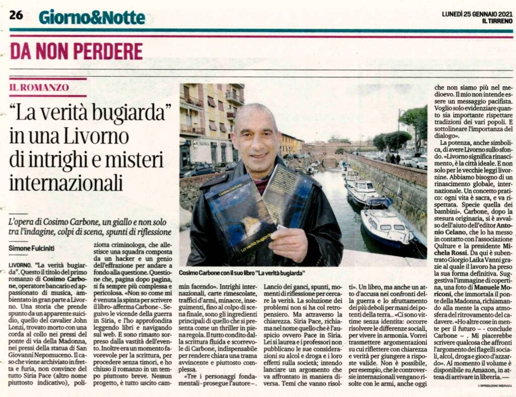 """25 gennaio 2021. Cosimo Carbone intervistato da Il Tirreno di Livorno sul libro """"La verità bugiarda"""""""