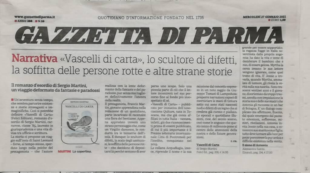 """27 gennaio 2021. Sergio Martini intervistato da La Gazzetta di Parma sul libro """"Vascelli di carta"""""""